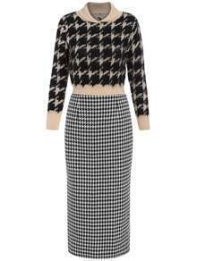 Black Apricot Stand Collar Houndstooth Top With Skirt