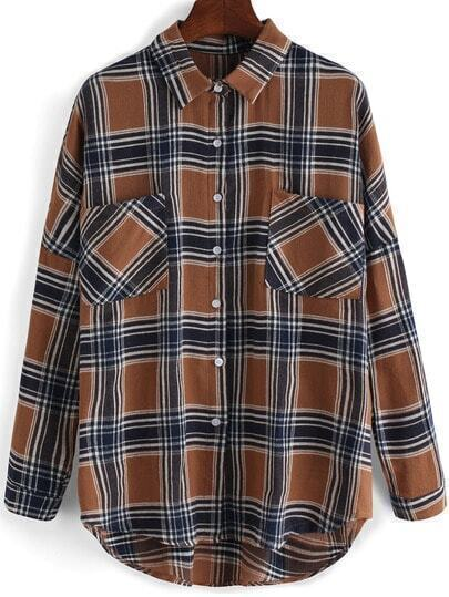 Coffee Lapel Plaid Pockets Dip Hem Blouse