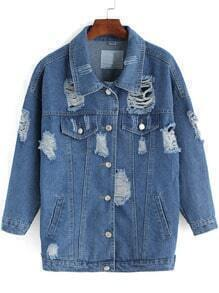 Blue Lapel Ripped Buttons Denim Coat