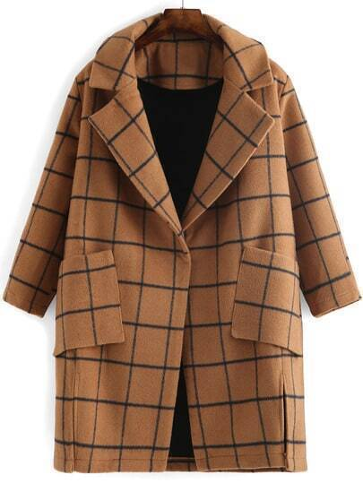 Camel Lapel Plaid Pockets Split Coat