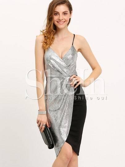 Silver Spaghetti Strap Color Block Sequined Dress