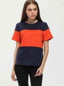 Orange Navy Short Sleeve Color Block T-Shirt