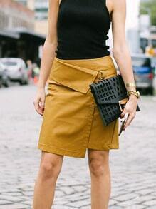 Brown Asymmetric PU Leather Skirt