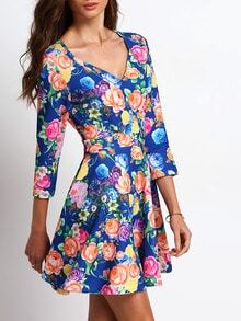 Multicolor V Neck Floral Flare Dress