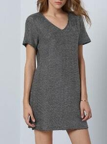 Silver Short Sleeve Casual Dress