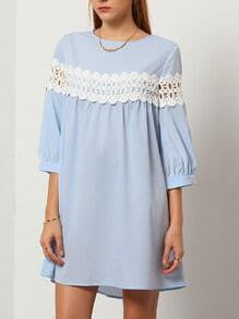 Blue Round Neck Hollow Dress