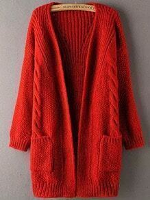Red Long Sleeve Pockets Cable Knit Sweater Coat