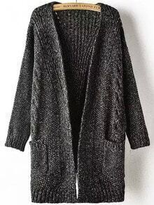 Black Long Sleeve Pockets Cable Knit Sweater Coat