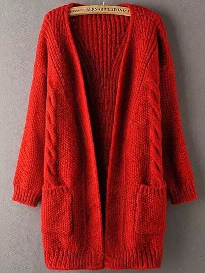 Red Long Sleeve Pockets Cable Knit Sweater Coat -SheIn(Sheinside)