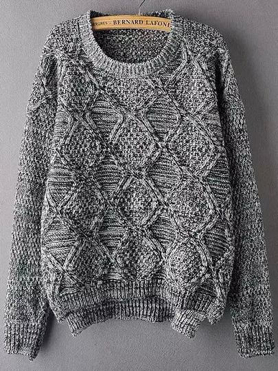 Grey Round Neck Diamond Patterned Sweater