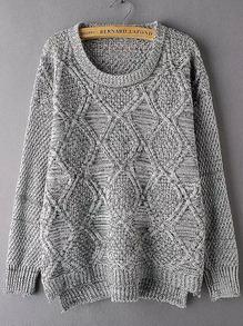Light Grey Round Neck Diamond Patterned Sweater