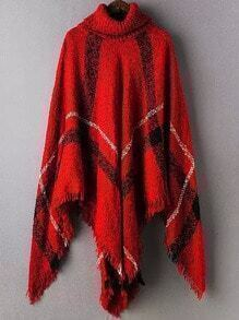 Red High Neck Plaid Tassel Cape