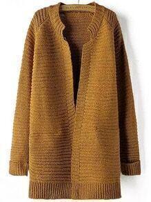 Khaki Long Sleeve Striped Patterned Cardigan