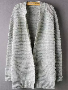 Grey Long Sleeve Striped Patterned Cardigan