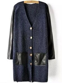 Navy Contrast PU Leather Buttons Pockets Sweater Coat