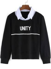 Black Contrast Collar Letters Print Crop Sweatshirt