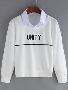 White Contrast Collar Letters Print Crop Sweatshirt