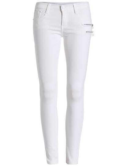 White Slim Zipper Denim Pant