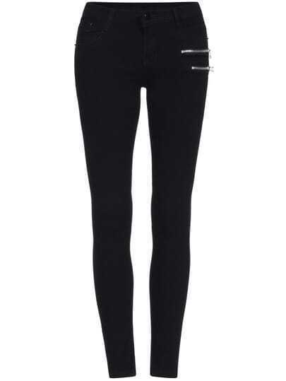 Black Slim Zipper Denim Pant