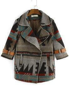 Colour Lapel Geometric Print Woolen Coat