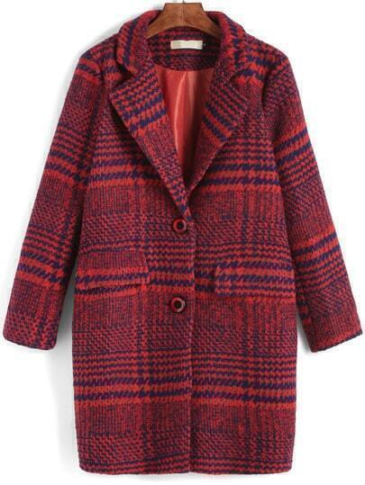 Red Lapel Plaid Single Breasted Woolen Coat