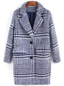 Blue Lapel Plaid Single Breasted Woolen Coat