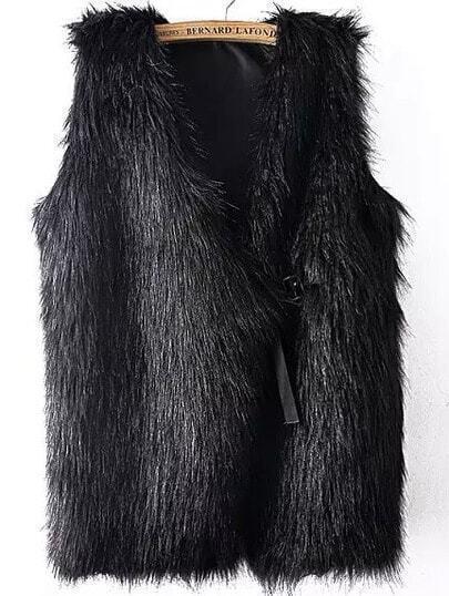 Black V Neck Faux Fur Vest