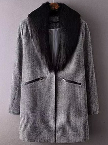 Black White Contrast Collar Houndstooth Coat