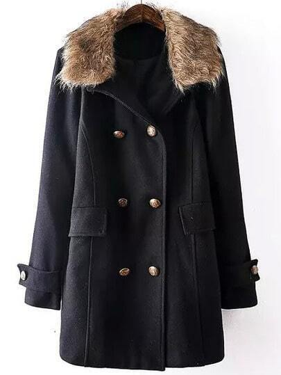 Black Contrast Collar Double Breasted Coat