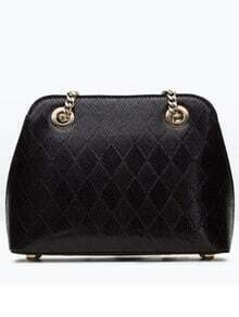 Black Diamond Patterned PU Shoulder Bag