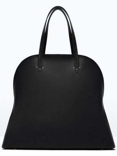 Black Vintage PU Tote Bag