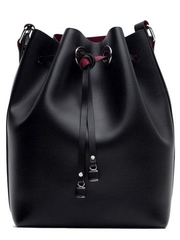 Black Drawstring PU Bucket Shoulder Bag