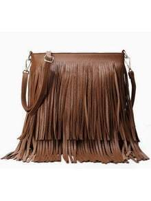 Brown Tassel PU Shoulder Bag