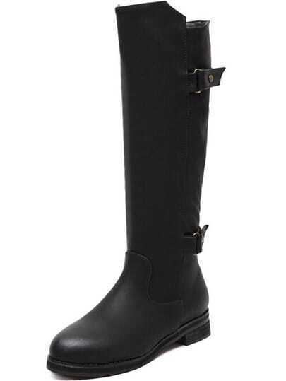 Black Buckle Strap High Boots