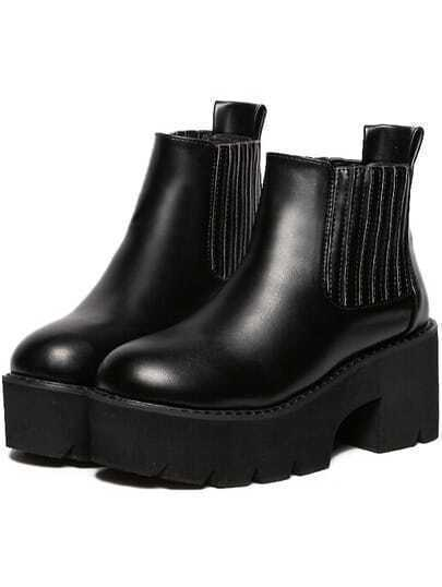 Black Chunky Heel Hidden Platform Boots