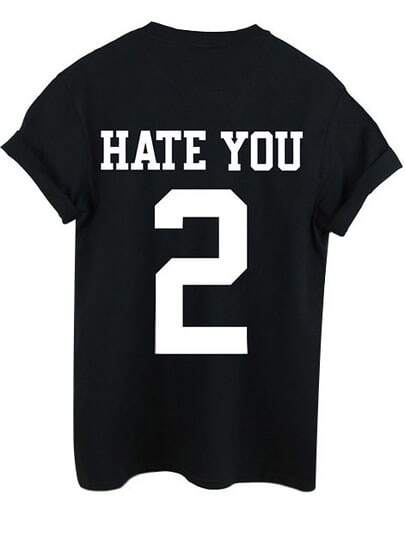 Slogan Print Cuffed T-shirt