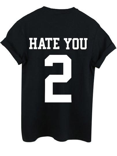 Maglietta stampata lettera nera