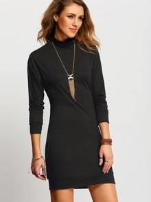 Black High Neck Long Sleeve Dress