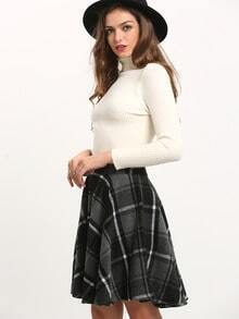 Grey Black Plaid Flare Skirt