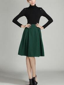 Navy High Waist Midi Woolen Skirt
