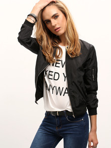 Black Stand Collar Zipper Crop Jacket