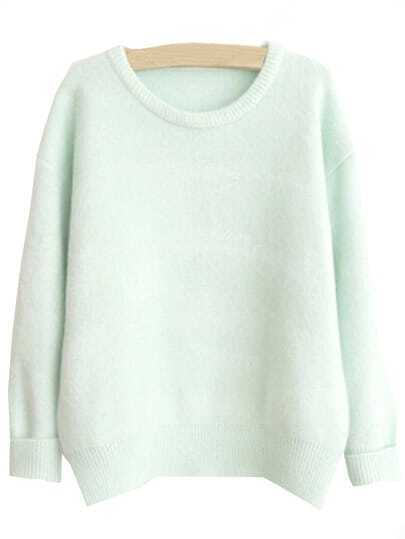Light Green Round Neck Loose Sweater