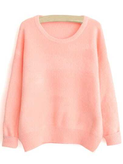 Pink Round Neck Loose Sweater