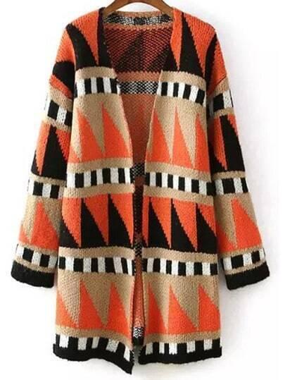 Colour Long Sleeve Geometric Print Cardigan