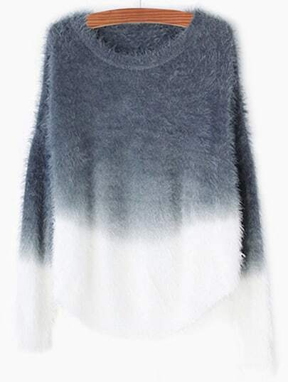 Grey Ombre Round Neck Mohair Sweater