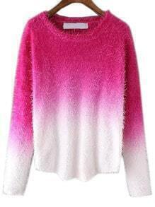 Rose Red Ombre Round Neck Mohair Sweater