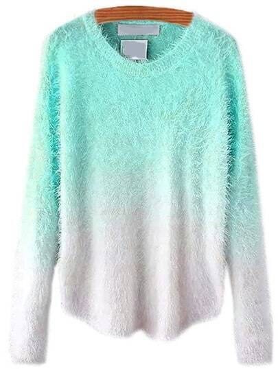Green Ombre Round Neck Mohair Sweater