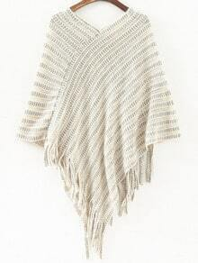 White V Neck Striped Patterned Tassel Cape