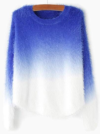 Blue Ombre Round Neck Mohair Sweater