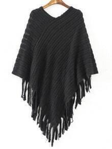 Black V Neck Striped Patterned Tassel Cape